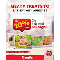 Get 10% OFF on selected sausages at Cargills FoodCity