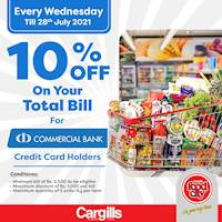 Get 10% OFF on your TOTAL BILL when you pay using your Commercial Bank Credit Card at Caragills Food City