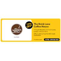 Get 15% Off for BOC credit Cards at THe Brick Lane Coffeehouse