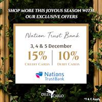 Enjoy up to 15% OFF at any Dilly and Carlo from your NTB Debit or Credit card