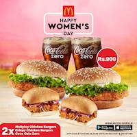 Get 2 McSpicy Burgers, 2 Crispy Chicken Burgers and 2 coke zero for just Rs. 900 on Women's Day at Mcdonald's