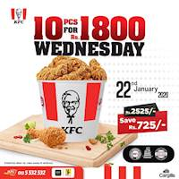 Spoil yourself with a Midweek Treat from KFC! The Wednesday Special for just Rs.1800 is sure to tickle your tastebuds