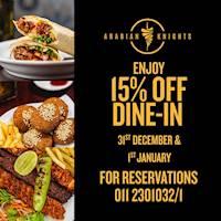 Enjoy 15% Off on Dine-in at Arabian Knights