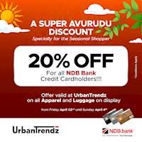 20% Discount for NDB Bank Credit Cardholders at Urban Trendz