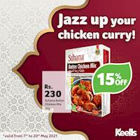 15% off on Suhana Butter Chicken Mix when you purchase at Keells