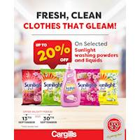 Get up to 20% OFF on selected Sunlight Washing Powders and Liquid Detergents at Cargills FoodCity