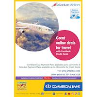 Great online deals for travel with ComBank Credit Cards at Sri Lankan Airlines