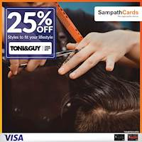 Enjoy 25% OFF at Toni & Guy Salon, Exclusively for Sampath Visa Infinite and Visa Signature Credit Cardholders.