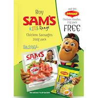Buy Sam's Kinds Range Chicken Sausages 200G pack and Get Maggi Chicken Noodles 73G Pack FREE