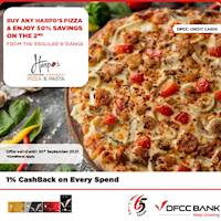 Buy one and enjoy 50% savings on the second pizza at Harpo's Pizza with DFCC Credit Cards!