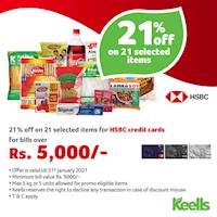21% off on 21 selected items for HSBC credit cards for bills over Rs.5,000 at Keells