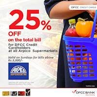 Enjoy 25% Off on the total bill when you shop with your DFCC Credit Card at all Arpico Supermarkets! Offer valid on Sundays for bills above Rs. 3,000 from 16th June to 14th July