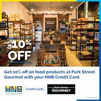 Get 10% off on food products at Park Street Gourmet with HNB Credit Card!