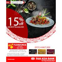 15% off and free delivery for bills above Rs 3,500/- at Flower Drum - Colombo for Pan Asia Bank Credit & Debit Cards
