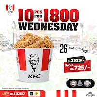 Get 10PC bucket for only Rs. 1,800! Exclusively only on Wednesdays at KFC Sri Lanka