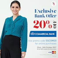 Enjoy 20% discount on your Commercial Bank visa or master credit and debit card at Spring & Summer