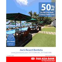 50% off at Joe's Resort Bentota for Pan Asia Bank Credit and Debit Cards
