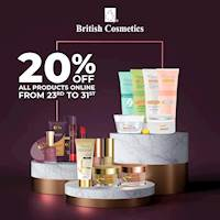 Get 20% OFF ALL products online at British Cosmetics
