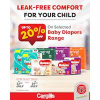Get up to 20% OFF on a selected range of baby diapers at Cargills Food City