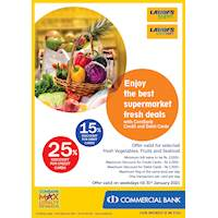 Enjoy up to 25% discount for ComBank Credit and Debit Cards at LAUGFS Supermarket