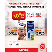Get up to 10% OFF on a range of selected liquid milk at Cargills FoodCity