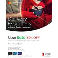 Enjoy 50% savings from Uber Eats with your Seylan Mastercard Credit and Debit Card