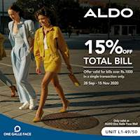 15 % off on Total bill for ALDO Shoes at One Galle Face