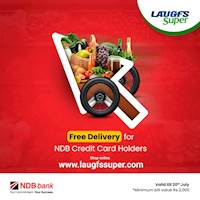 Free delivery for NDB credit card holders, for online orders above LKR 2000 from LAUGFS Supermarket