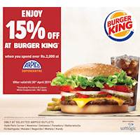 Enjoy 15% off at Burger king when you spend over Rs. 2,000 at selected Arpico outlets!