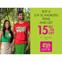 Buy any 4 items across LUV SL Apparel and Home products, and get 15% OFF at Odel