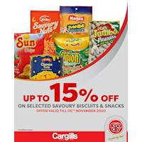 Get up to 15% off on selected Savory Biscuits and Snacks at Cargills FoodCity!