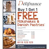 Buy one for of the listed milkshakes or savories and get one absoutely free Delifrance