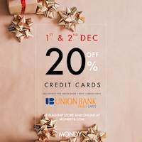 Seasonal offer - Enjoy 20% Off For Union Bank Credit Cards at Mondy