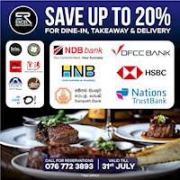 Save up to 20% at Excel Restaurants when you pay from your credit cards