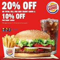 Get 20% Off on total bill for HNB Credit Cards and 10% off on Debit Cards at Burger King
