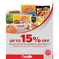 Get up to 15% off on selected Sausages and Meatballs at Cargills FoodCity!