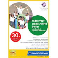 30 % discount with Combank credit and debit cards at Polymath College