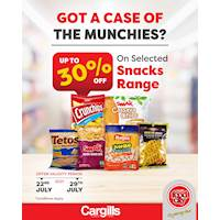 Get up to 30% off on Selected range of snacks at Cargills Food City
