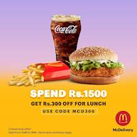 Spend Rs 1,500 and get Rs.300 OFF for lunch at McDonalds