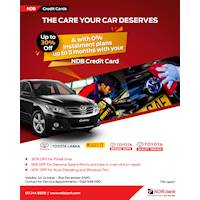 Get up to 30% at Toyota Lanka with your NDB credit card