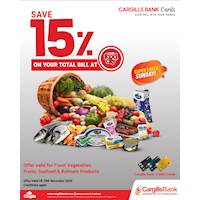 Save 15% on Total Bill with Cargills Bank Credit Card on Sundays at Cargills Food City