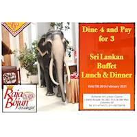Dine 4 and Pay for 3 -Sri Lankan Buffet at Raja Bojun