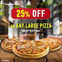Month End Offer! Get 25% off with every Domino's Large Pizza ordered.