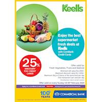 Enjoy the best supermarket fresh deals at Keells with ComBank Credit Cards.