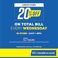 Enjoy 20% DISCOUNT on TOTAL BILL with Commercial Bank Credit Cards at GLOMARK on every Wednesday