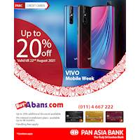 Get up to 20% & 0% interest installment plans with handling fees on VIVO mobiles at www.buyabans.com with Pan Asia Bank Credit Cards