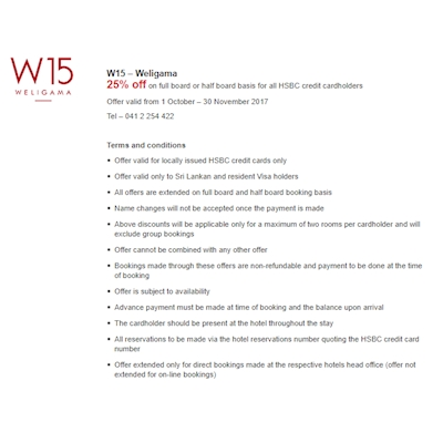 Get up to 25% Off on your staying at W15 Weligama with your HSBC