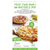 Buy any large pizza and ger 50% off on the 2nd pizza at Harpo's Pizza