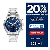 Enjoy 20% off on a wide selection of Men's Watches from leading International Brands when you use your AMEX credit card at Odel.lk