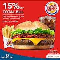15% Off on Total Bill at Burger King One Galle Face Mall